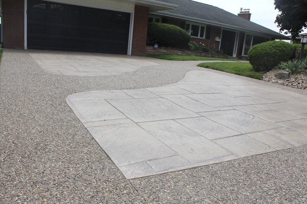 Aggregate stamped driveway